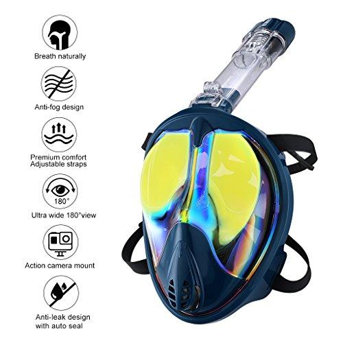 ENKEEO Full Face Snorkel Mask 180° Large Vision Mirror Lenses Anti Fog UV 400 Dry Top Technology, Detachable Breathing Tube (L/XL, (Goggle Skin Mirror)