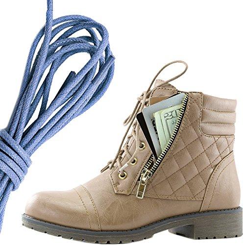 Dailyshoes Kvinners Militære Snøring Spenne Combat Boots Ankelen Høyt Eksklusivt Kredittkort Lomme, Kongeblå Beige Pu