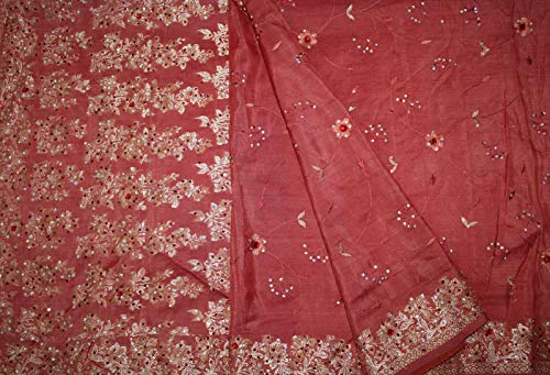 Vintage Red Sari Heavy Beaded Embroidered Pure Silk Fabric Indian Saree Crafts Dress Wrap 5Yard Sarong