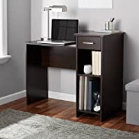 Stylish & Affordable Student Computer Homework Desk, Great for Dorms or Apartments, Features Drawer, Adjustable & Fixed Shelf, Great Assortment of Multiple Finishes & Colors! (Espresso Dark Brown)