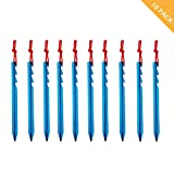 Azarxis Aluminum Tent Stakes Pegs Heavy Duty Lightweight for Camping Sand - 10 Pack (Blue - Y - 7 Inches)