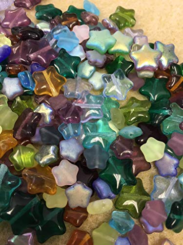 Pressed Czech Glass Mixed Star Beads Shapes Sizes and Colors by ModeBeads. (Star) 1/2 Pound -
