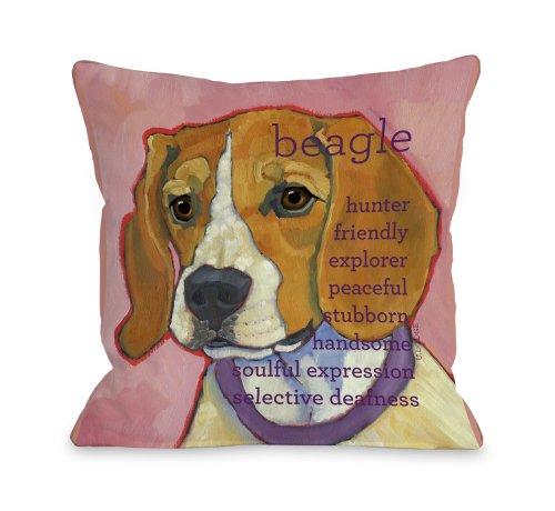 One Bella Casa Beagle 1 Throw Pillow, 18 by 18-Inch