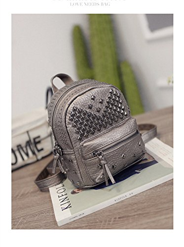 Santwo Leather PU Women's Waterproof Rivets size C gold Mini Backpack Bag Shoulder small Casual Daypack champagne gIwqgXr