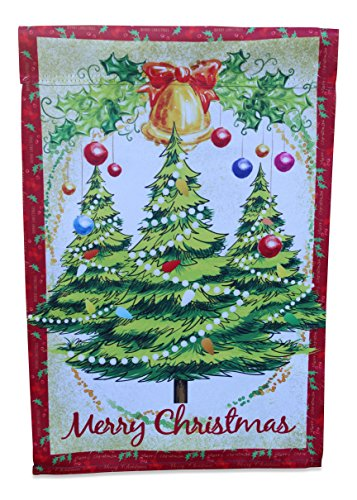 Merry Christmas Garden Flag Yard Decoration; Trees with Ornaments, Holly and a Bell with a Red Bow; 12 inches by 18 inches Merry Hill Christmas Lights