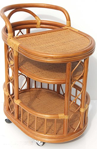 Moving Serving Cart Bar Table Natural Rattan Wicker Exclusive Handmade ECO, Cognac by SunBear Furniture (Image #7)'