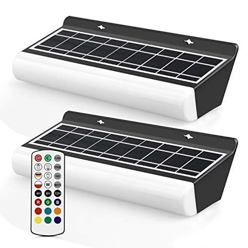 MEIHUA Lámpara solar RGB para fiestas, con mando a distancia, 2 unidades, para exteriores, RGB, 3 modos de iluminación…