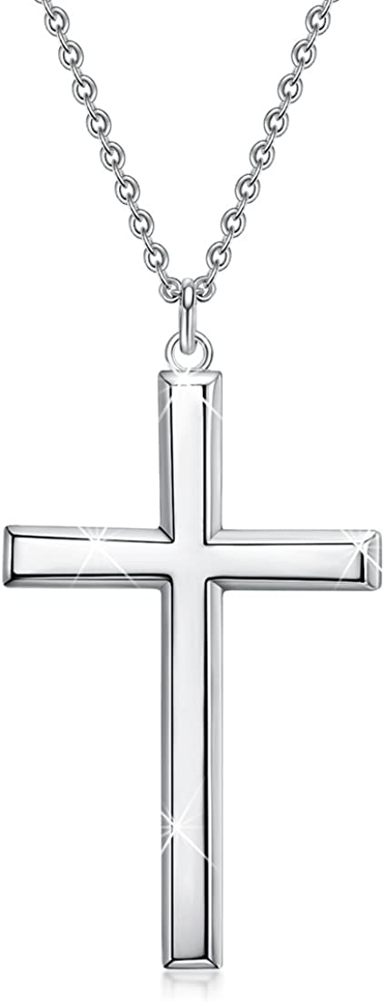 Herren 925 Sterling Silber Klassische Kreuz Anh/änger Halskette f/ür M/änner und Frauen 18 or 24