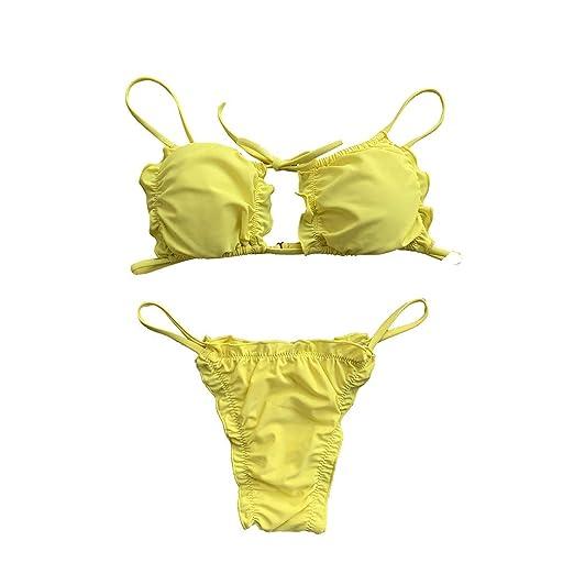 b54ee3f90e3 Amazon.com: high Waisted Swimsuit, Women's Bikini Set Padded Swimwear  Halter Bandage Ruched Beachwear: Clothing