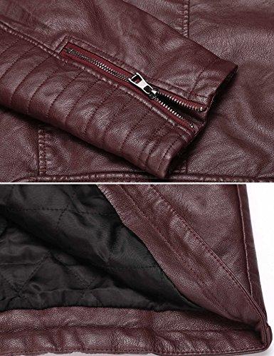 Cremallera Rojo Hombre Chaqueta Color para con Cierre de Cuero de Negro Coofandy P0qF6P