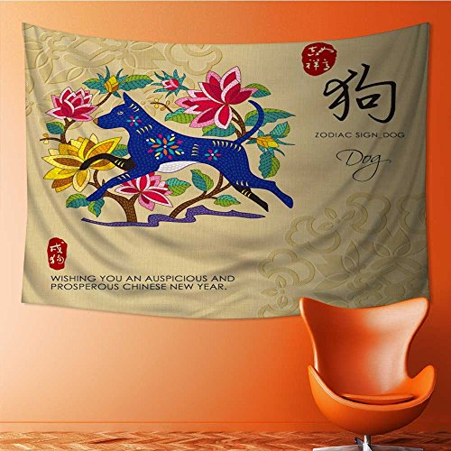 AmaPark Polyester Tapestry Wall Hanging Chinese Zodiac Signs of Dog with Chinese Calligraphy Text and The Wall Decor for Bedroom Living Room Dorm 60W x 51L Inch (Best Dog For Zodiac Sign)