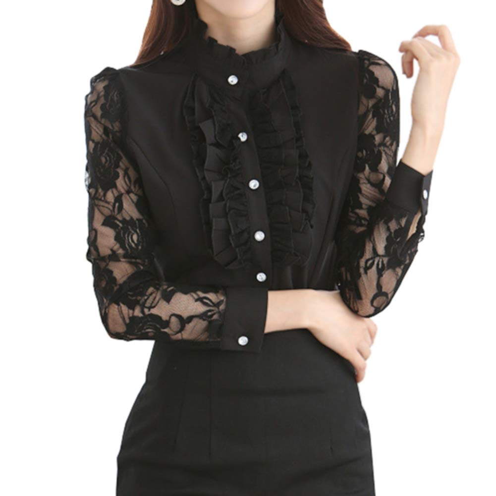 9c72fe1068 Color available: Black,White Stand-up collar,ruffle chest and cuff  design,Button down shirt top