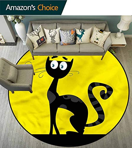 RUGSMAT Cat Round Area Rug Ultra Comfy Thick,Cartoon Style Drawing Halloween Non-Slip Bathroom Soft Floor Mat Home Decor Round-39]()