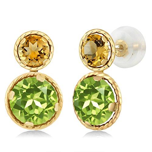 3.60 Ct Round Green Peridot Yellow Citrine 14K Yellow Gold (Citrine Peridot Earrings)