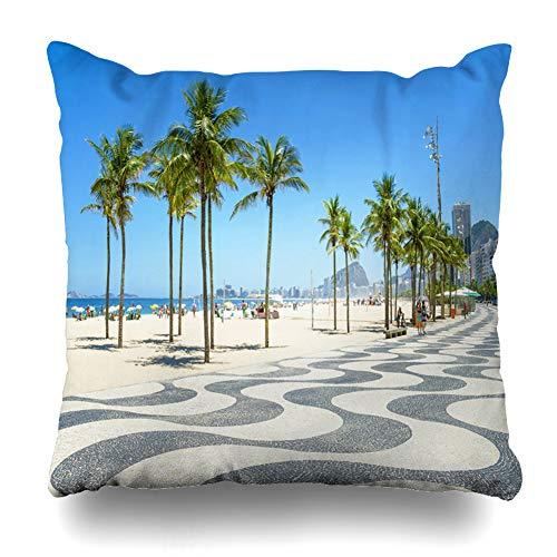 DIYCow Throw Pillows Covers Bright Scenic Morning View Iconic Boardwalk Copacabana Beach Rio De Janeiro Brazil Home Decor Pillowcase Square Size 18 x 18 Inches Cushion Case