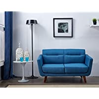 US Pride Furniture Contemporary Fabric Loveseat with Wood Legs, Ocean Blue