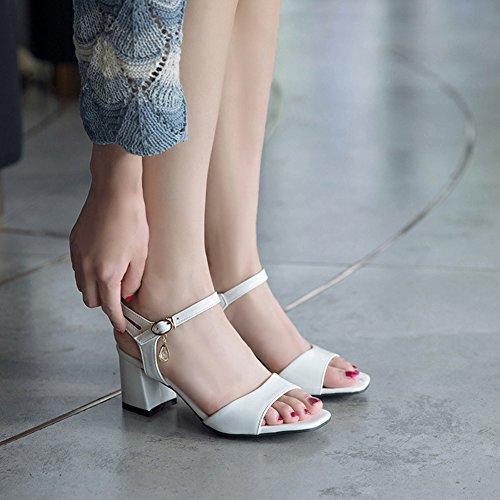 Zehen mit Sandale Knöchelriemchen Aisun Perlen Blockabsatz Offene Schnalle Strass Weiß Damen n8BSgxE