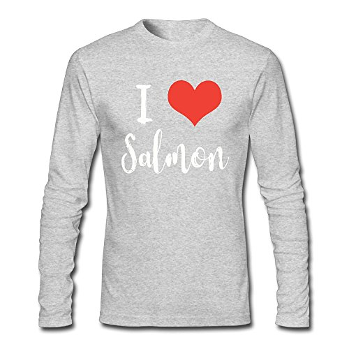 I Love Salmon Men's T Shirt,Long Sleeve Under Shirt Outerwear For Man (Smoked Keta Salmon)