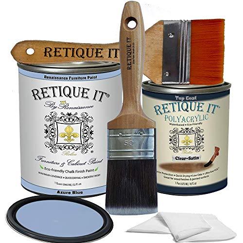 Retique It Chalk Furniture Paint by Renaissance DIY, Poly Kit, 41 Azure Blue, 32 Ounces
