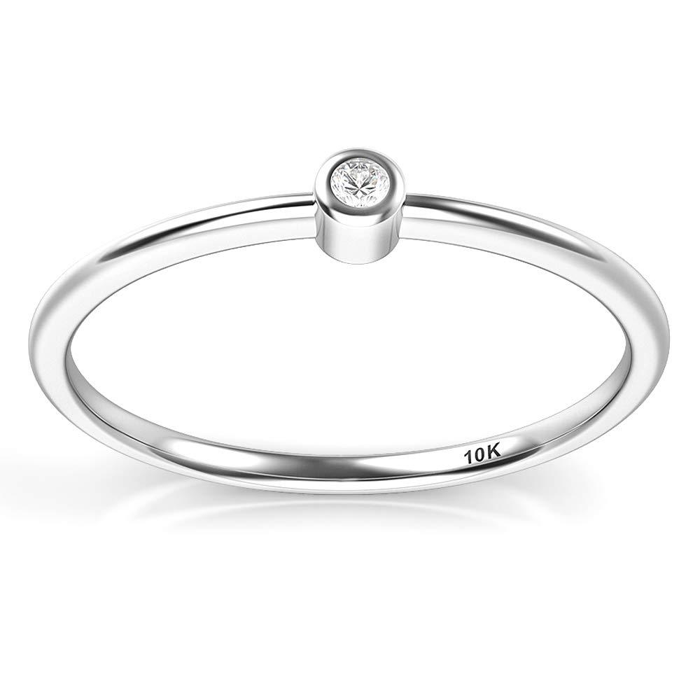 10K White Gold Bezel Set Diamond Wedding Engagement Ring Kobelle