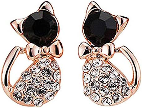 Mr.S Shop Bling Cute Bowknot Cat Rhinestone Crystal Ear Studs Earrings