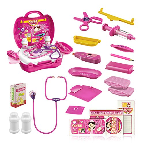ATOPDREAM Best Kids Gifts Age 3-12, TOP Toy Doctor Kit Best Gifts for 3-12 Year Old Girls Boys 2019 New Toys for 3-12 Year Old Boys 2019 Gifts for 3-12 Year Old Girls Pink