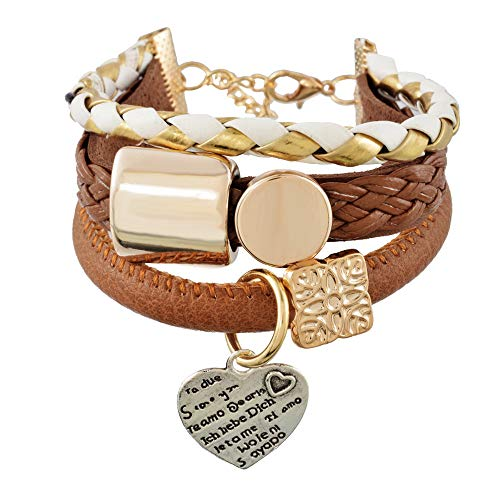 Multilayer Heart Charm Bangle.