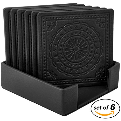 Coasters,PU Leather Drink Coasters Cup Mat Set of 6 for Beverage Drinks (black)