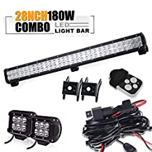 "TURBOSII 28"" Inch Led Work Light Bar 180W 15000-18000LM Flood & Spot Combo + 4 Inch Driving Fog Light + 3 lead Wiring Harness Kit for Van Camper Wagon ATV UTE SUV Boat 4x4 Jeep Offroad (DOT Approved)"