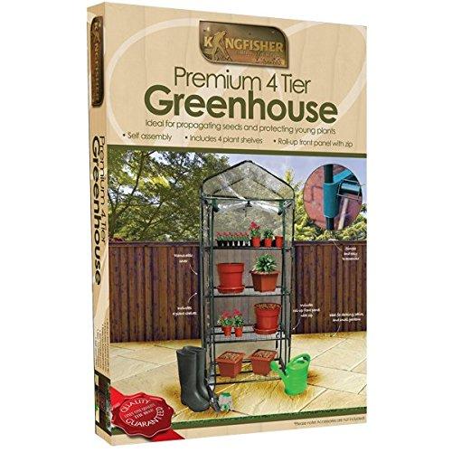 Kingfisher 4 Tier Garden Greenhouse With Roll Up Door