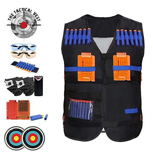 BIG SALE Tactical Vest Fun Set For Kids: Fully Equipped For Toy Gun Games, With 50 Ammo Darts Standard And Glow In The Dark, Arm Band, Cartridges, Face Masks, Safety Glasses, Targets, Team Play
