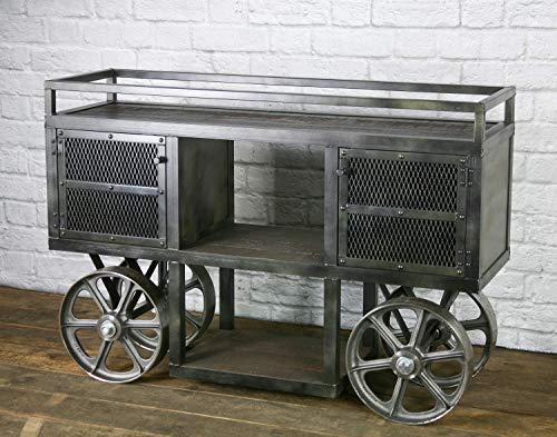 Amazon Com Industrial Trolley Bar Cart Kitchen Island Mid
