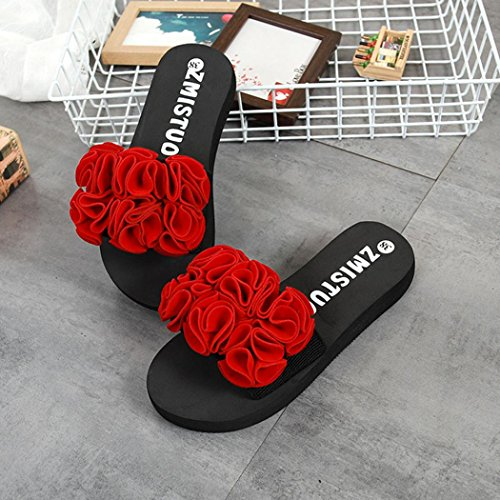 Indoor Red Summer Flip Bead Slippers Outdoor Women's Shoes Sandals Flower 2018 Sandals Beach Flat Spring Shoes Flops Longra Casual PqOpUBnx