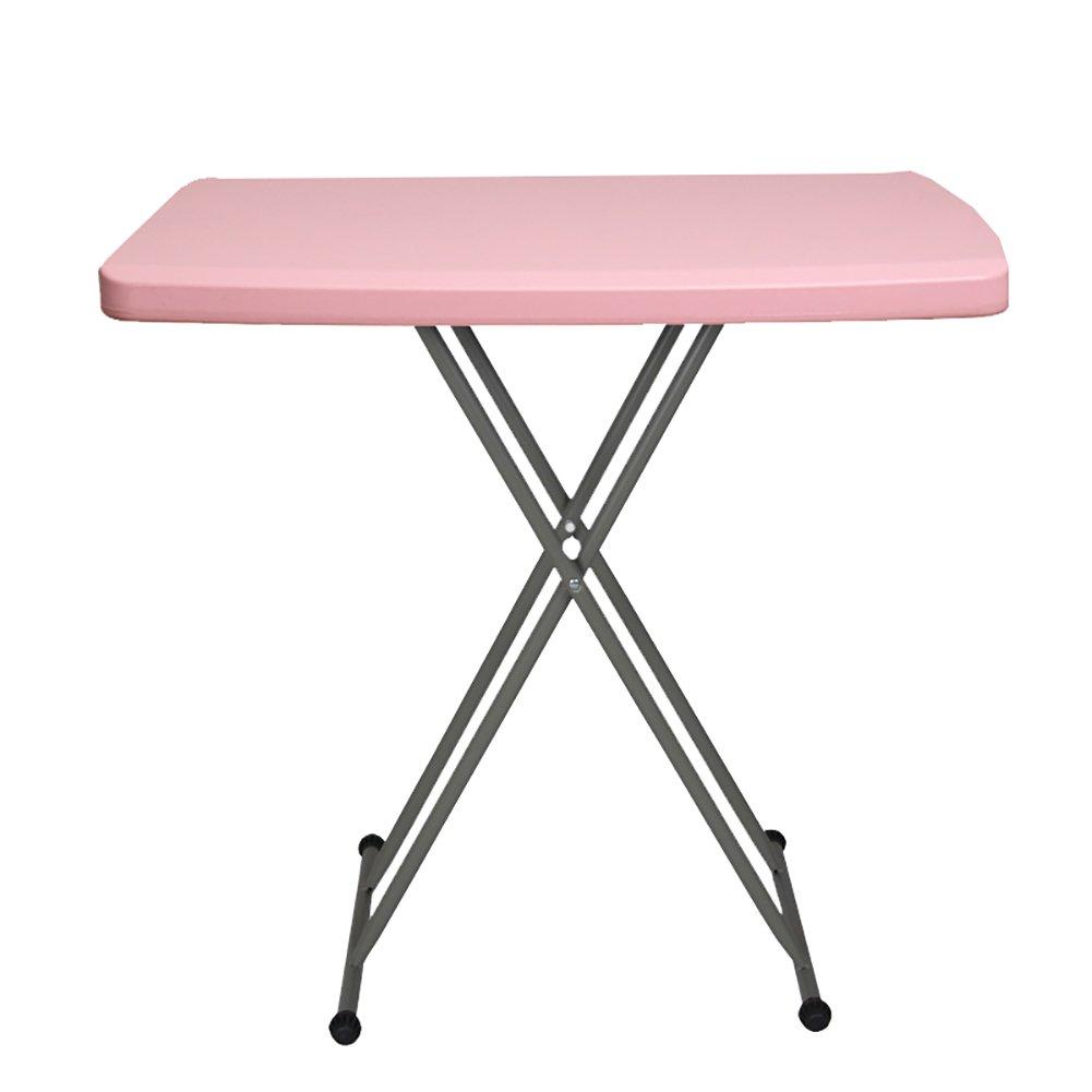 YXX- キッチンキャンプ用のプラスチックスクエア折りたたみダイニングテーブル小さな折り畳み式のコーヒーコーヒーテーブルスチールパイプの脚を持つコンピュータワークステーションインストールする必要はありません (色 : ピンク ぴんく) B07DS2Z5Z2 ピンク ぴんく ピンク ぴんく