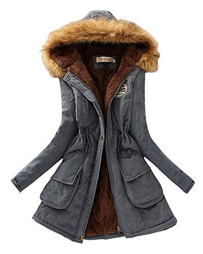 Cálido Mezclilla Chaquetas Mujer Abrigo Azul Manga Capucha Espesar Con Cordón Larga Casual wgTHgqX