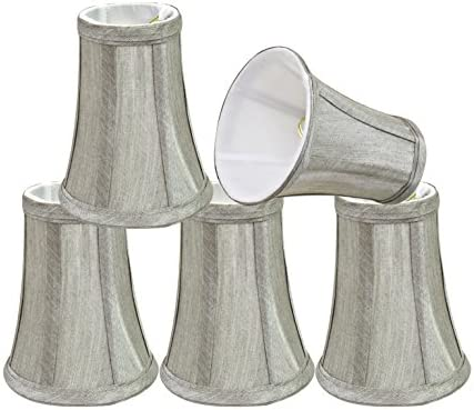 Aspen Creative 30246-5 Small Bell Shape Chandelier Clip-On Lamp Shade Set 5 Pack , Transitional Design in Silver Grey, 4 Bottom Width 2 1 2 x 4 x 5