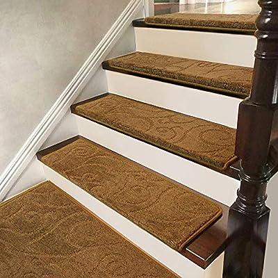 Antideslizantes para escaleras Almohadilla De Escalera Autoadhesiva Alfombra Jacquard Escalera Simple Espesar Alfombra Paso Decoración Interior TZXSHO (Color : Coffee(75x24cm), Size : 5pcs): Amazon.es: Hogar