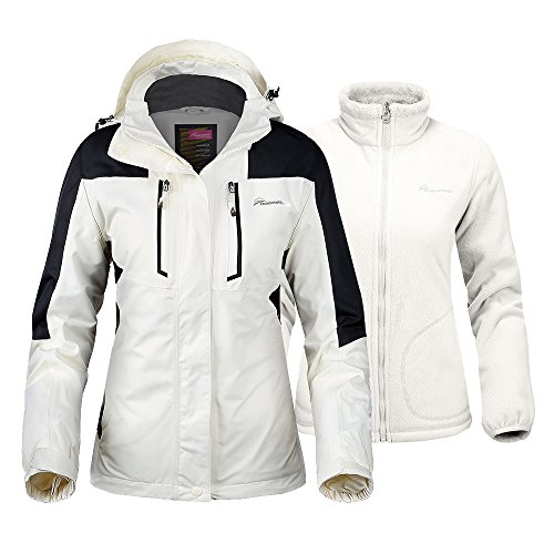 OutdoorMaster Women's 3-in-1 Ski Jacket - Winter Jacket Set with Fleece Liner Jacket & Hooded Waterproof Shell - for Women (Off White,L)