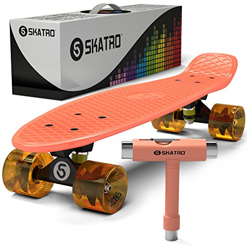 Skatro - Mini Cruiser Skateboard. 22x6inch Retro Style Plastic board Comes Complete. Model: Orange Disco