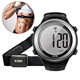 EZON Outdoor Sports Smart Watch with Heart Rate Monitor Waterproof HRM Tech Chest Strap Watch with Alarm Hourly Chime Stopwatch T007