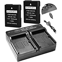 ecoEfficiency 2 Pack of Fully Decoded EN-EL14, EN-EL14A Batteries and Dual Battery Charger for Nikon D3400, D5600 Digital SLR Camera