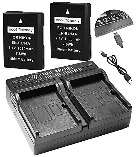 ecoEfficiency 2-Pack of EN-EL14, EN-EL14A Batteries + Dual Battery Charger for Nikon D3100, D3200, D3300, D3400, D5100, D5200, D5300, D5500, D5600, DF, Coolpix P7000, P7100, P7700, P7800 DSLR Cameras