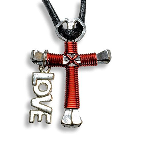 Horseshoe Nail Cross Necklaces -(Solid Color) You Pick Colors! (Love Charm- Red)