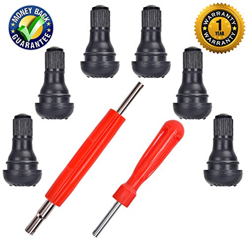 """(DCFlat Snap-in Short Black Rubber Valve Stem (TR412) 6-Pack for Tubeless 0.453"""" Inch 11.5mm Rim Holes on Standard Vehicle Tires and 2 in 1 Set Dual Single Head Valve)"""
