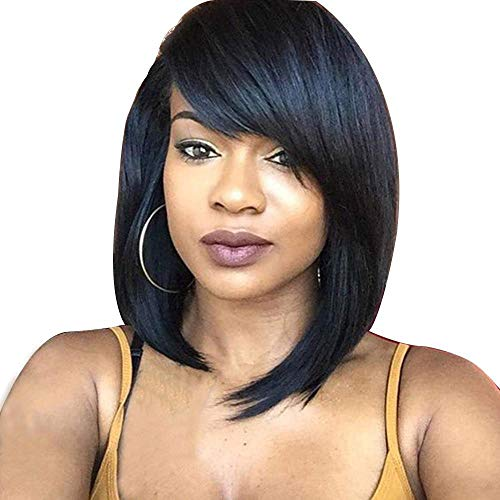 Fashion Natural Black Shoulder length bob Summer Haircuts With Side Bangs For Women Synthetic Stright Short Full Hair Bob Wig With Curly Tips Heat Resistant Cosplay Party wigs 12 Inches(Natural Black)