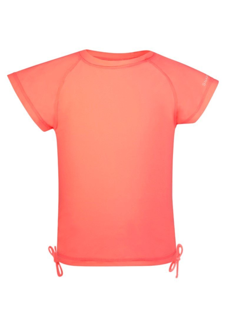 Snapper Rock Girls Short Sleeve Rash Top (Neon Coral, 12) by Snapper Rock