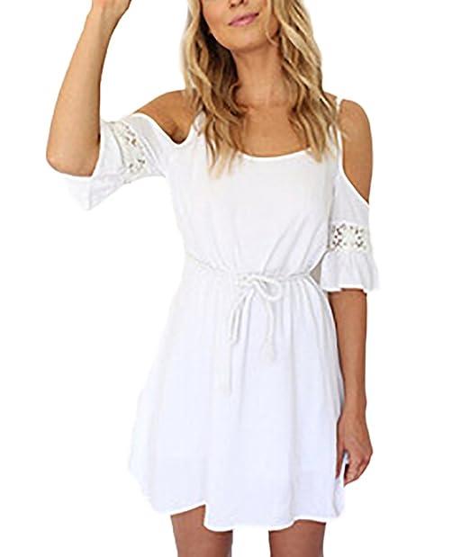 Vestidos Verano Mujer Elegantes Cortos Blancos Vestidos Playa Casual Hombros Descubiertos Tirantes Con Encaje Manga Corta Cuello Redondo Estilo Dulce Con ...