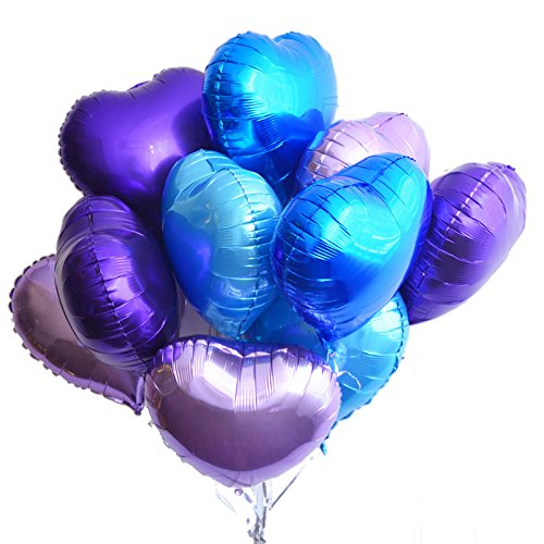Boieo 18 inch Heart Shaped Mylar Foil Balloons for Unicorn Party Wedding Decorations Supplies - 12 (Blue And Purple Balloons)