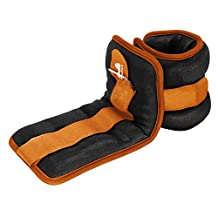 Reehut Durable Ankle/Wrist Weights (1 Pair) w/ Adjustable Strap for Fitness, Exercise, Walking, Jogging, Gymnastics, Aerobics, Gym - Orange - 3 lbs (x2)