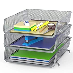 3 Pack – Stackable Desk File Document Letter Tray Organizer, Silver